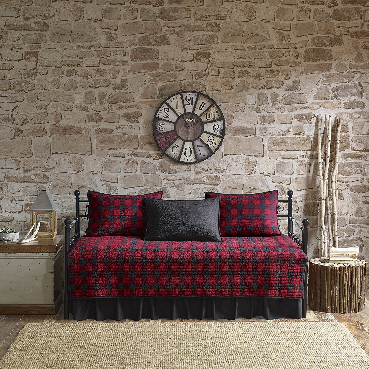 5 Piece Red Black Plaid Daybed Cover Set, Geometric Square Rugby Stripe Checkered Cabin Lodge Theme Checked Pattern Day Bed Bedskirt Pillows, Polyester