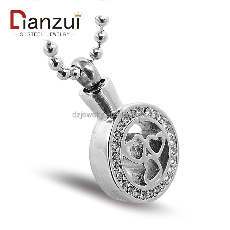 DZ1153 Top sale cheap stainles steel diamond round hollow heart locket pet cremation keepsake urn ashes pendant