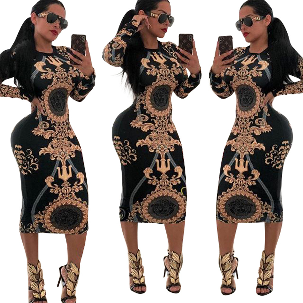 hot printed bodycon dresses women lady sexy  women bodycon dress long sleeve