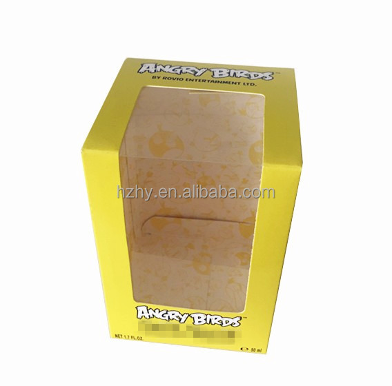 Paper packing box with clear plastic window