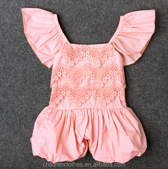 New arrival !!Bf girl photo toddler bodysuit Back add elastic kids clothing Flutter sleeve pink girl jumpsuit