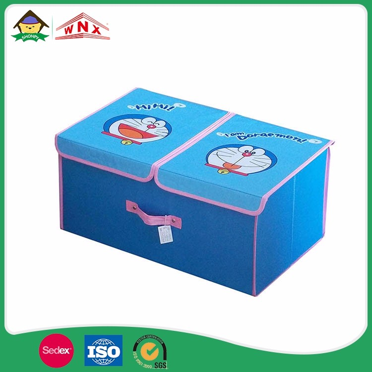 Removable Collapsible Cartoon Lidded Fabric Cube Toy Storage Bin