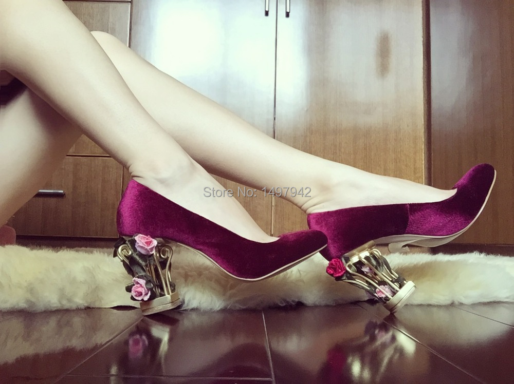 Pink High Heels For Wedding: Pink Suede Wedding Fancy Shoes Flowers Cage High Heels