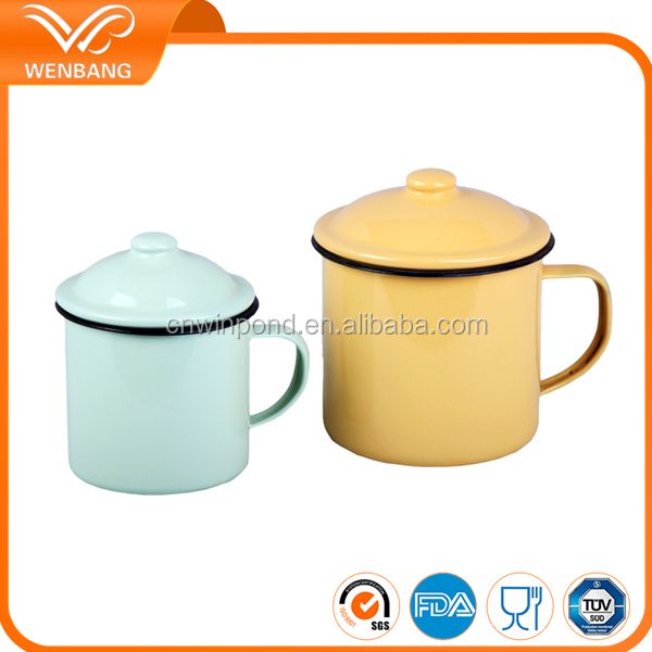 Bulk chinese factory direct made enamel drinking tea cups with lids