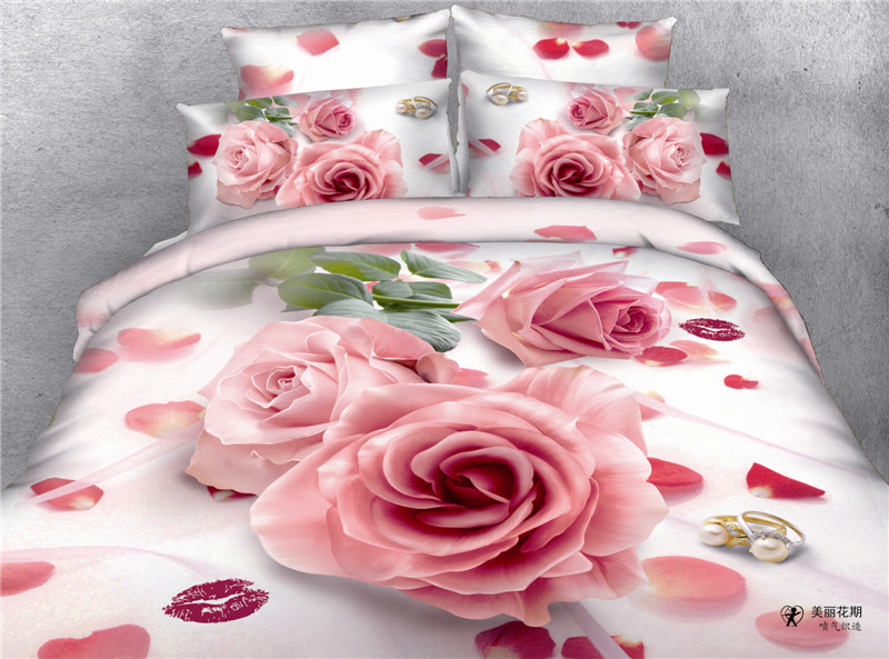 Wonderful flower printed bedding set/cotton printed bedsheet/bed spread