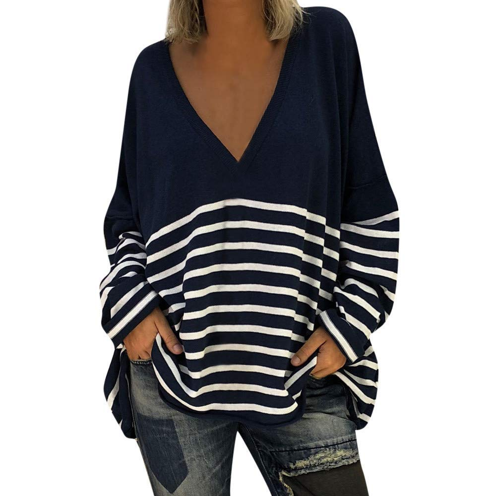 Get Quotations  C2 B7 Womens Long Sleeve Deep V Neck Stripe Sweater Tunic Tops Loose Pullover Blouse Sweatshirt