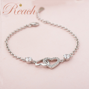 Wholesale Women Fashion Love Heart S925 Silver Jewelry Bracelet