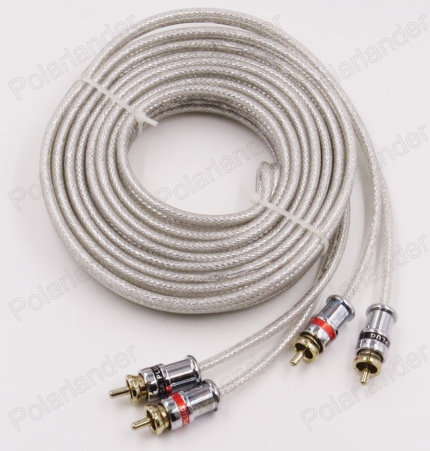 5 meters white rca to rca car stereo audio cable wire for car amplifier speaker free shipping. Black Bedroom Furniture Sets. Home Design Ideas