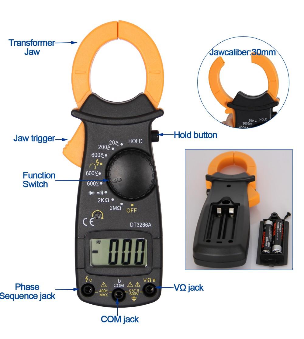 Digitale Aca Dca Strommesszange Dt3266a Mit Power Live-draht Test ...