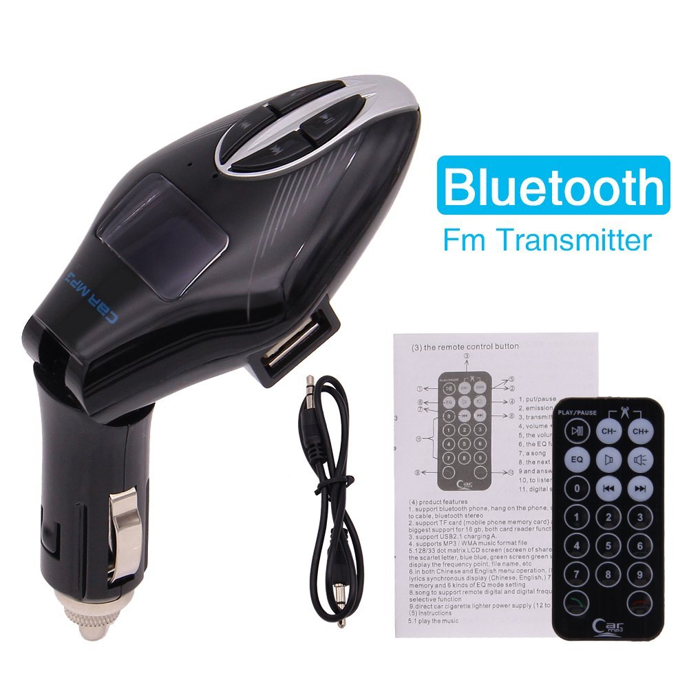 High Performance Digital Wireless Bluetooth Fm Transmitter, in-car Bluetooth Receiver, fm Radio Stereo Adapter, bluetooth car charger with Handsfree Calling and USB Charging Port