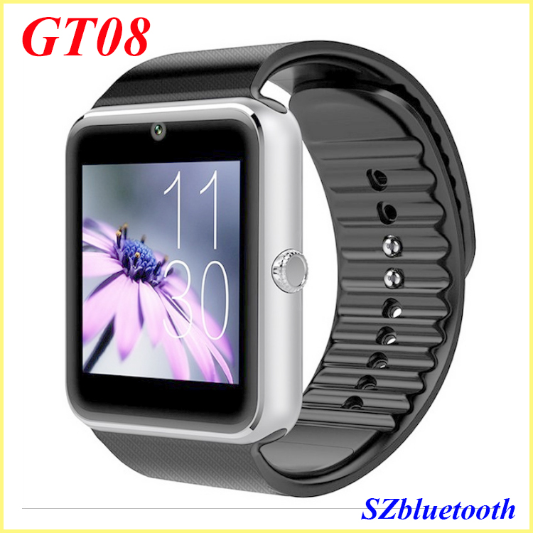 China low cost GSM unlocked 1 sim HD camera touch screen GT08 bluetooth watch type mobile phone