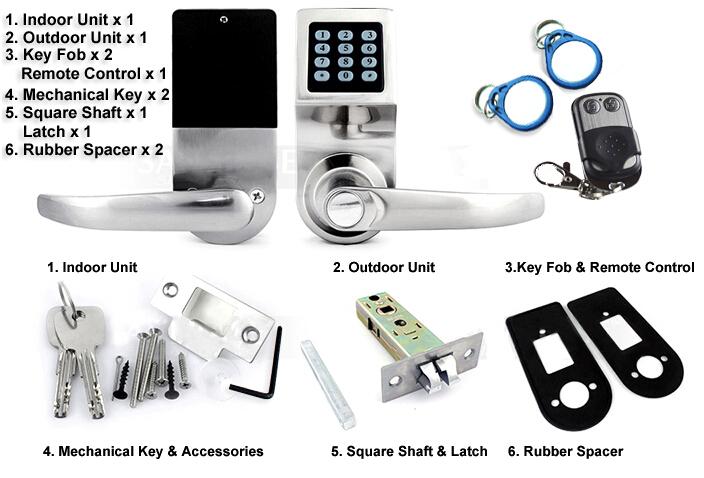 hotel door lock types. Hotel Apartment The School Password+Key+RF Card Remote Control Door Lock Types