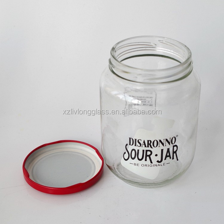 Empty Round Glass Disaronno Sour Jar With Metail Lid 500ml - Buy 500ml  Glass Jar,Disaronno Sour Jar,Glass Jar With Lid Product on Alibaba com