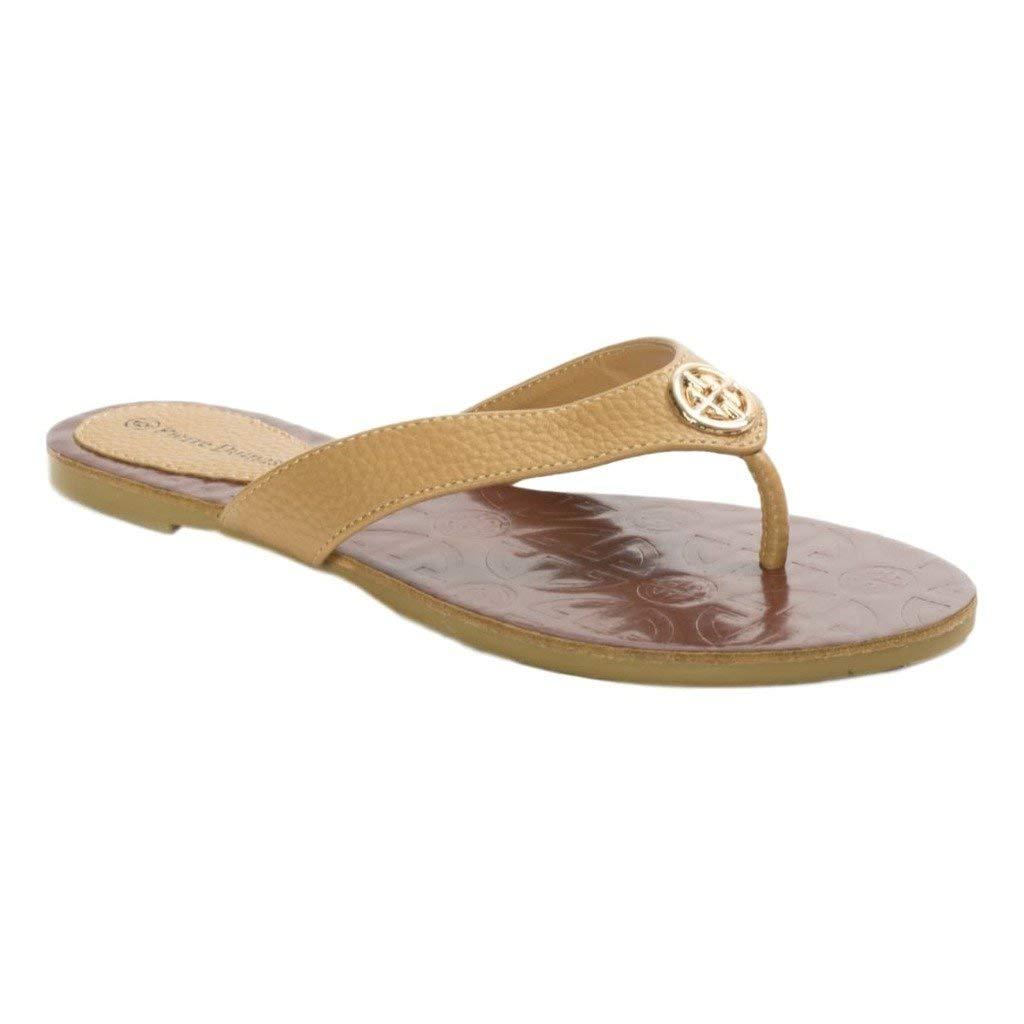54729d5e9e2 Get Quotations · Pierre Dumas Women s Flip-Flops Flats Sandals Flora-2 Vegan  Leather Emblem Accents Flip