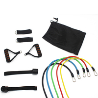 Hot Sale Dropship 11pcs Latex Resistance Band Tube Set with ankle resistance band