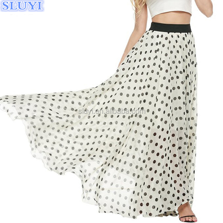 latest long skirt design women vintage polka dot bohemian style beach chiffon pleated fitted maxi long skirt with kurti