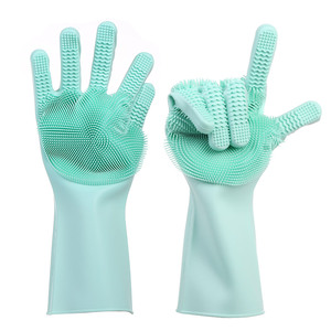 Free Sample Silicone Scrubber Gloves, Magic Sponge Silicone Dishwashing Gloves