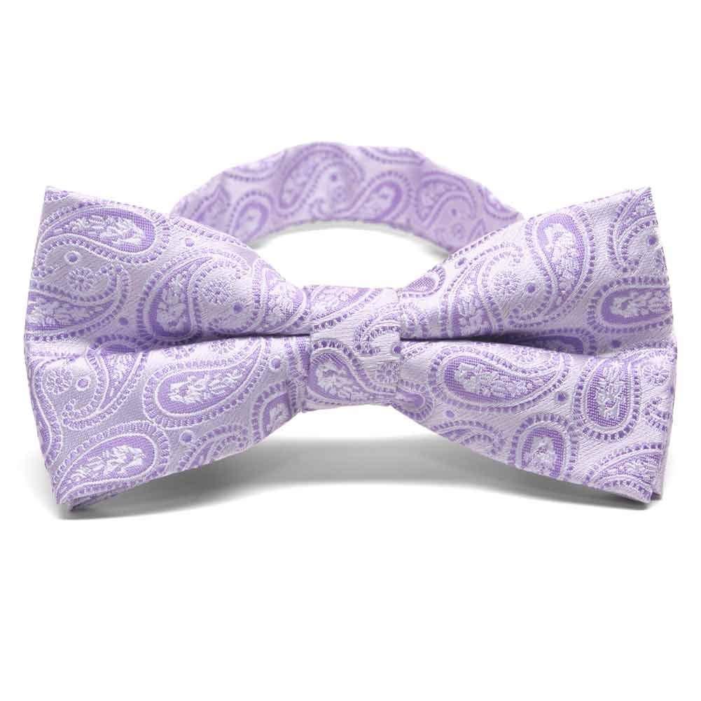 TieMart Navy Blue Clara Paisley Band Collar Bow Tie