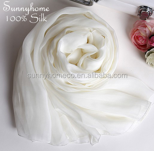 White 100% natural Silk Scarves High quality women designer brand scarf women autumn poncho casual silk pashmina shawls hijabs