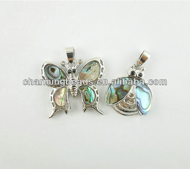 CH-JSP0071 jewelry pendant,fashion abalone shell butterfly and bee pendant,insect pendant