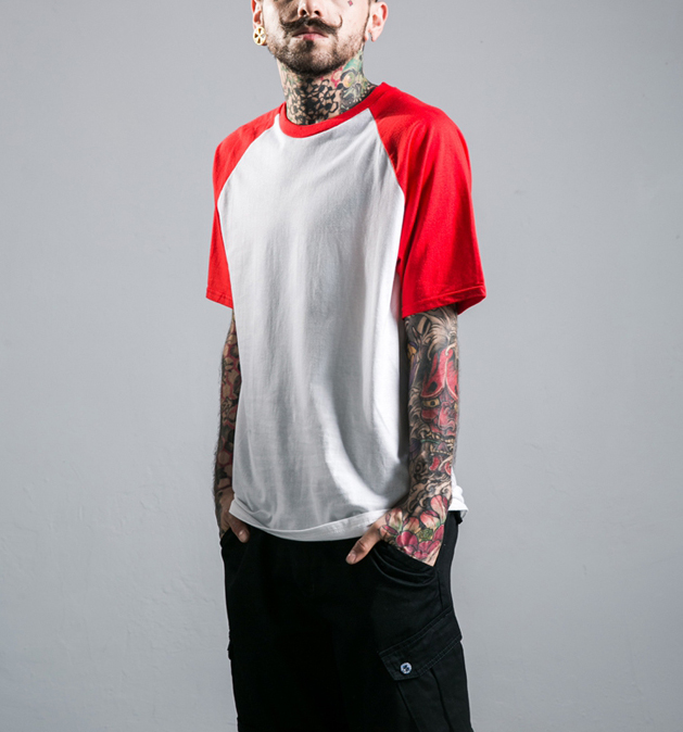 Simple Joker With Loose Sleeve Sleeve Joint Short Sleeve T-Shirt Fashionable Male Baseba