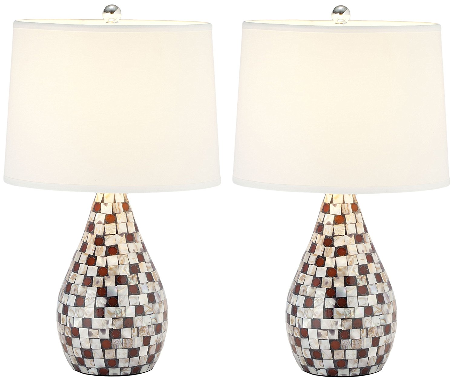 Safavieh Lighting Collection Lauralie Brown Capiz Shell 19.25-inch Table Lamp (Set of 2)