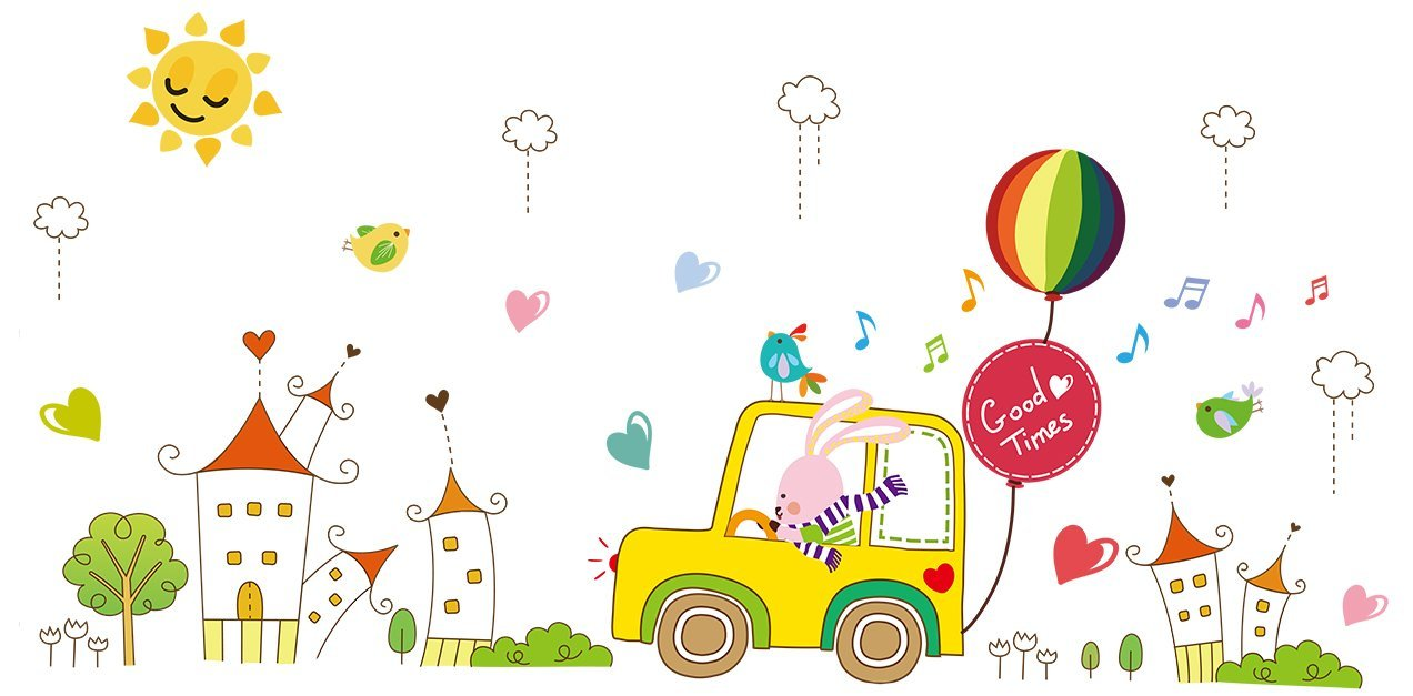 """KoalaBear Brand Kids Wall Decals Rabbit Driver Hot-air Balloons Children Wall Sticker Large Size Removeable Decorative Wallpaper Peel & Stick For Kids Bedroom/Playroom, 24"""" x 35"""""""