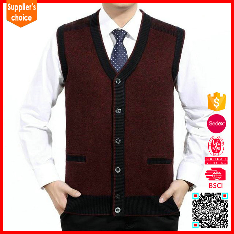 Hot selling mens knitted wool vest v neck knitted pattern vest sweater