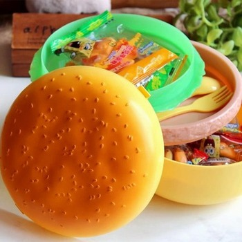 Children Hamburger Bento Lunch Box Food Container Storage With Spoon