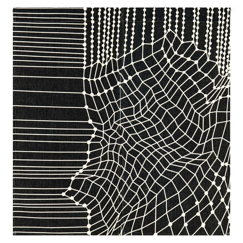 MR FANTASY Cotton Linen Noren Japnese Doorway Curtain Tapestry Modern Geometric Stright Wavy Line Room Divider - Web, 33x35 in