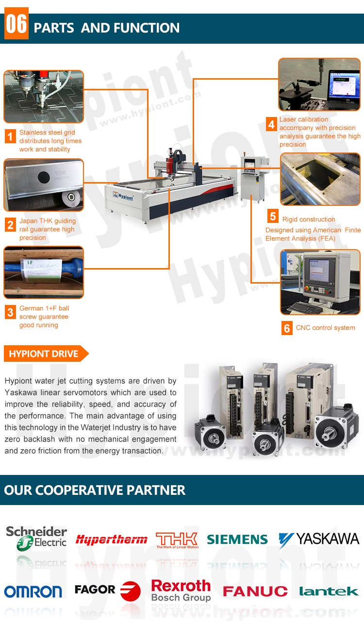 water jet cutting machine with stable pressure for metal stone glass cutting with CE TUV ISO9001 certifications made in China