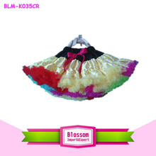Hot sale!! rainbow chiffon ruffle baby girl fluffy pettiskirts girl's tutu skirts chevron baby petit skirt