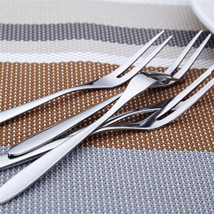 10 pcs Stainless Fruit Forks Two Prong Fork Bistro Cocktail Tasting Cake Stylish