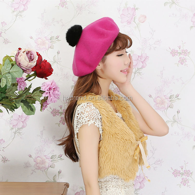 Ladies wool beret hat with rabbit fur pompom