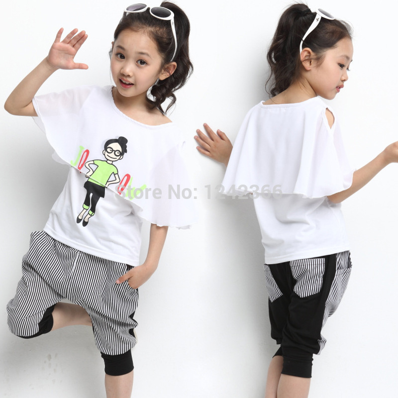 f5defe4bd Get Quotations · Girls Clothing Set chiffon T-shirt/tops+Pants/shorts suit  Children/