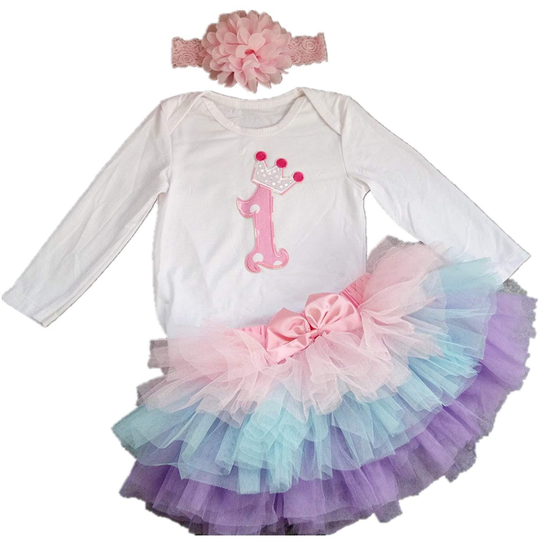 377579d9b AISHIONY Baby Girls' 1st Birthday Tutu Onesie Outfit Newborn Princess Dress  3PCS
