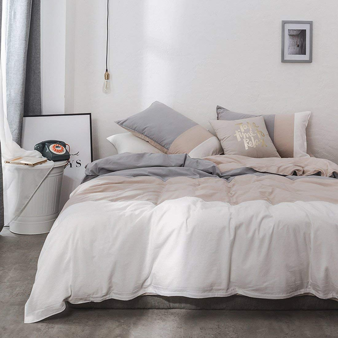 ughome Washed Cotton Duvet Cover King - 3 Piece Graduated Simple Style Bedding Set King,Soft Lightweight 1 Duvet Cover and 2 Pillow Shams(Grey,King)