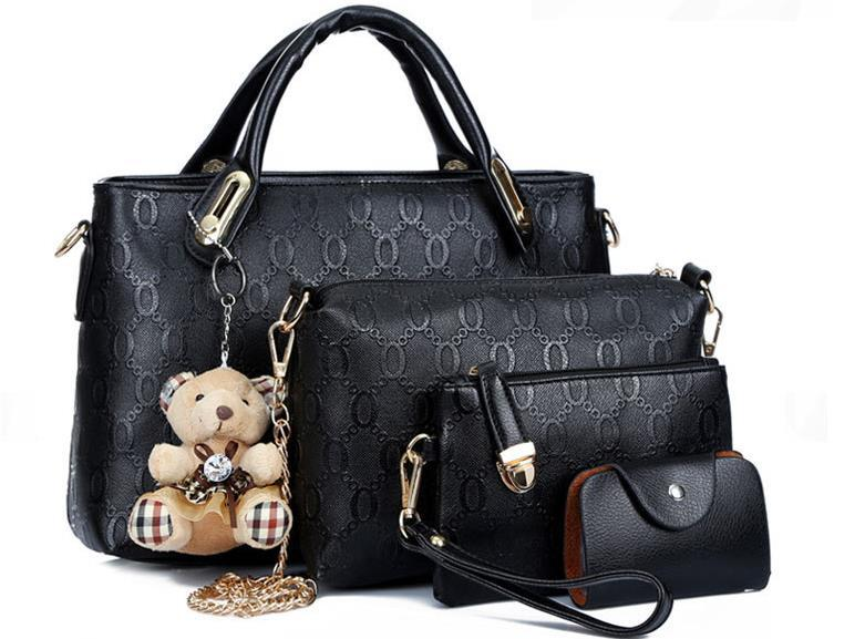 6 colors Women fashion handbag Get four bags fashion design genuine leather handbag shoulder Zipper Designer Brand New 2015