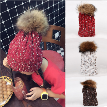 Custom korean style baby girls slouchy children winter wool crochet  ponytail hats free pom beanie 32ffb2482bc