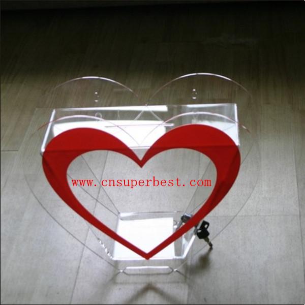 Small Clear Heart Shaped Acrylic Donation Box With Lockkey Buy