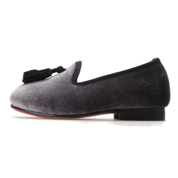 9c58c1a5185 Kids Grey Velvet Loafers With Tassels - Buy Slip On Shoes