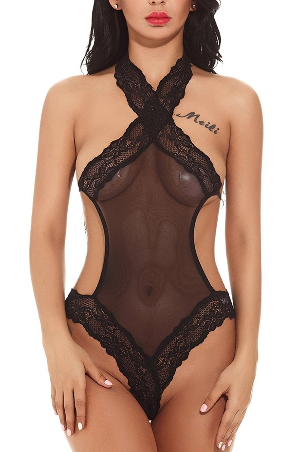 Get Quotations · Miss Enigma Womens Sexy Lingerie Bodysuit Halter Teddy Lace  Mesh Bodysuit Babydoll Cute 6cb6489b3