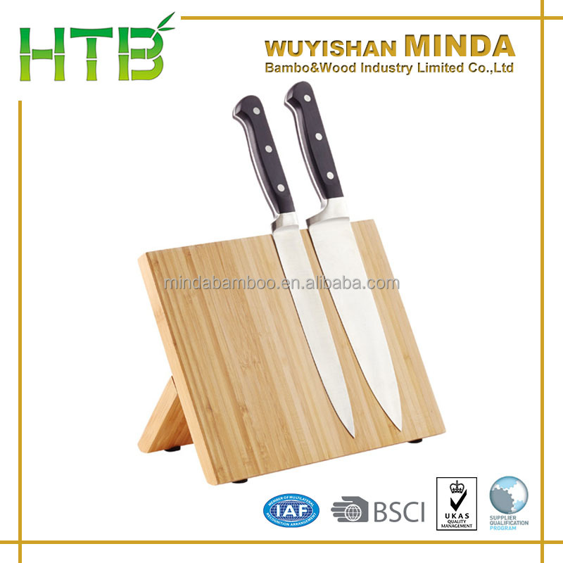 Kitchenware Bamboo Magnetic Knife Dock with strong magnet strip in side