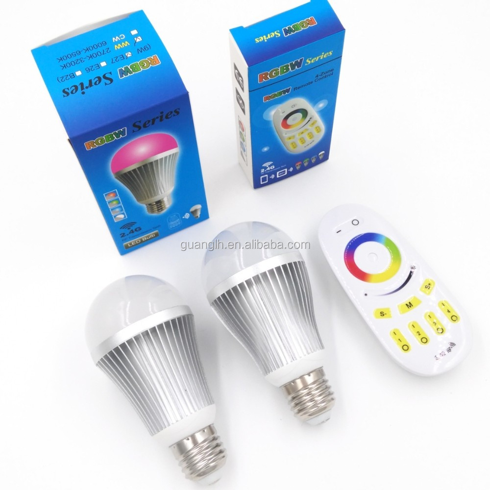 9W E27 color changing aluminum alloy RGBW LED Bulb with 2.4G Wireless Remote Control