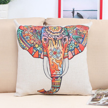 Wholesale Stock Small Order hot selling Colorful elephant Cushion Decorative Linen Throw Pillow Covers
