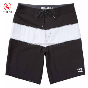 Custom design your own logo for 4 way stretch fabric black and white men board shorts