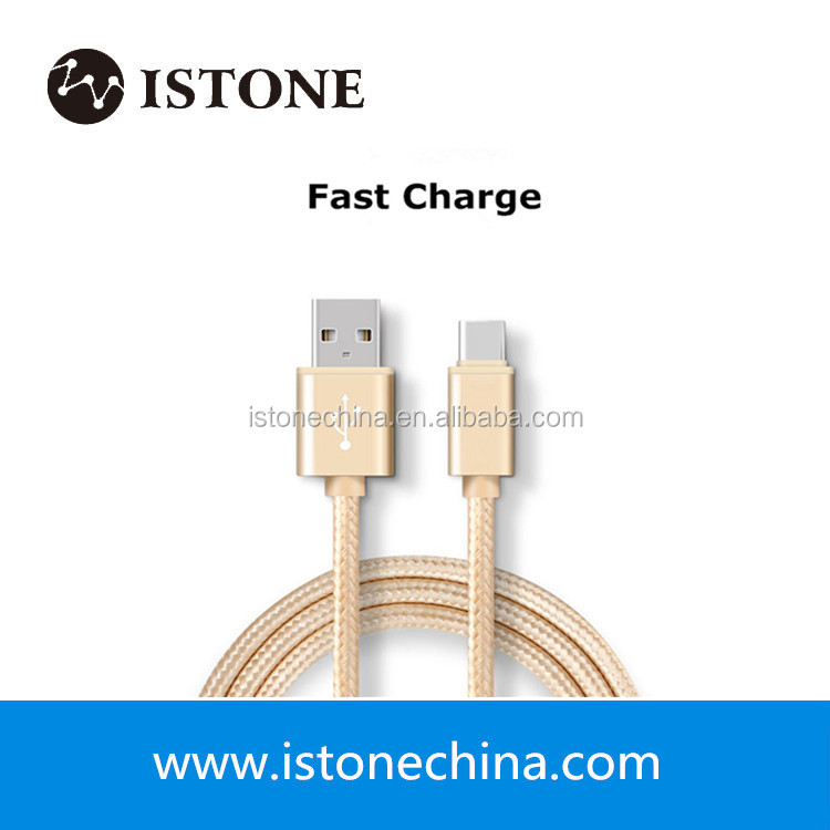 Charge and sync 2.5A metallic nylon braided cable with type-c connector