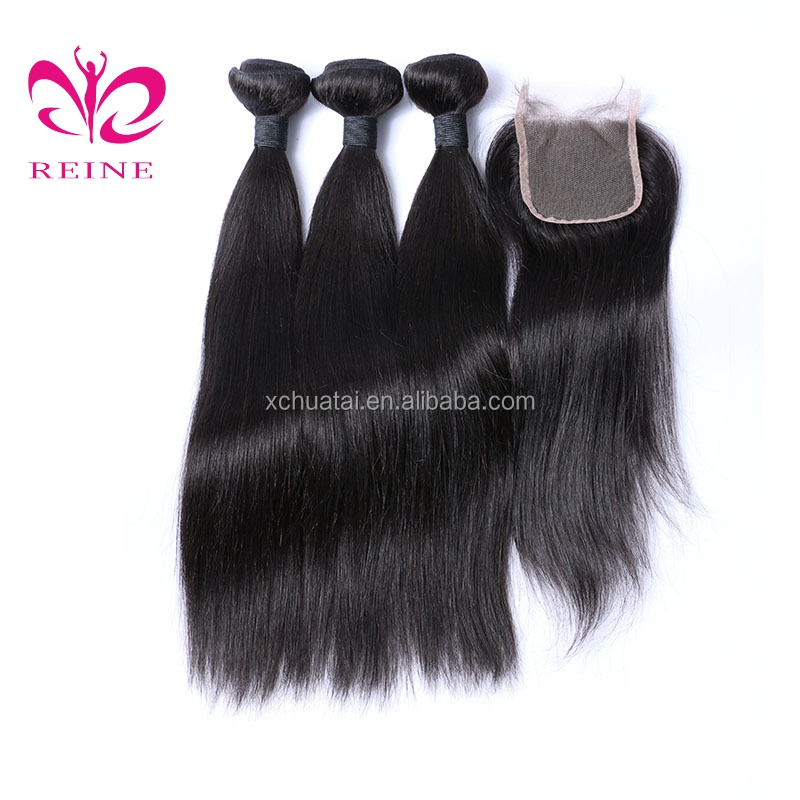 raw unpocessed pure Brazilian straight hair weaving closures with bundles