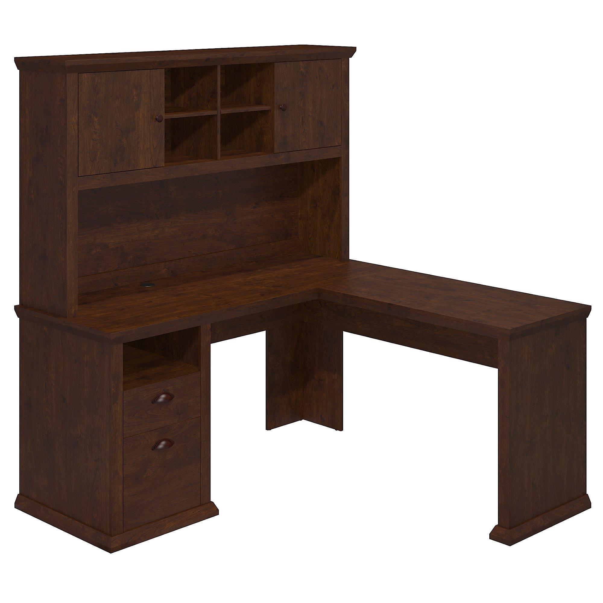 Bush Furniture Yorktown L Shaped Desk with Hutch in Antique Cherry