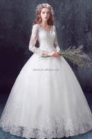 Elegant white V-neck Lace Beaded wedding dress sweet lace prom ball gown Princess Bridal Dress